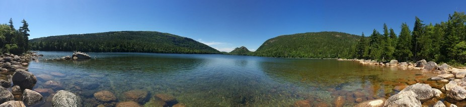 Jordan Pond- Panoramic of one of the many beautiful spots in Acadia National Park in Maine. One o...