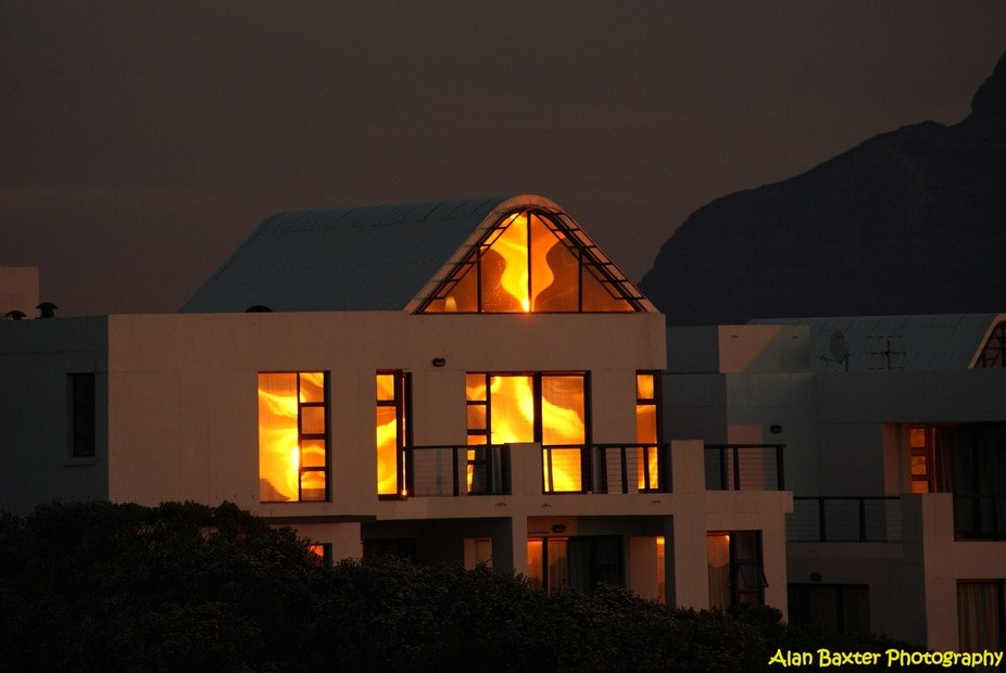 Sunset creating and fire reflection