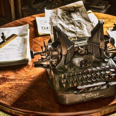 An old typewriter displayed in a study at Erddig Hall, Wrexham,
