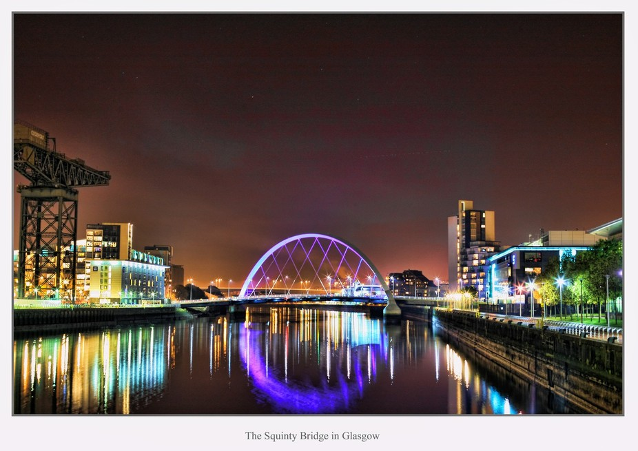 A view of the Squinty Bridge in Glasgow Scotland,its called this because it crosses the river Cly...