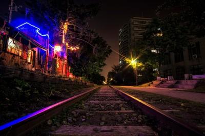 Otaru railroad at night