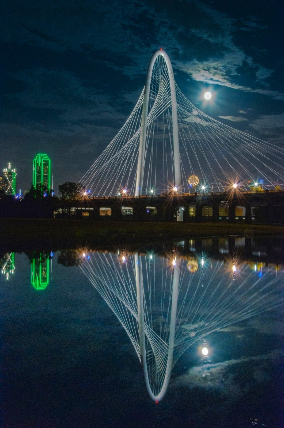 Super Moon over Dallas by jamesnelms - Bridges In The Night Photo Contest