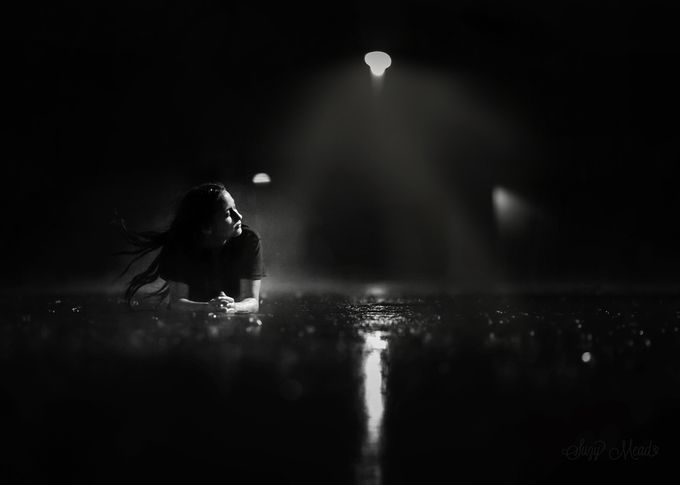 Night Rain by suzymead - Shadows and People Photo Contest
