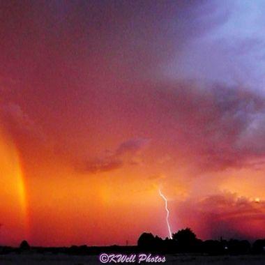 evening rainbow and lightening