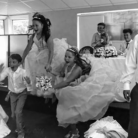 B/W version where kids let loose after a wedding.