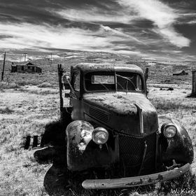 This old relic resides in Bodie California - it is a state historic park off the 395 north of Mono Lake.