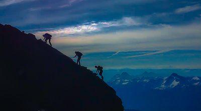 3 Climbers on Mount Shuksan