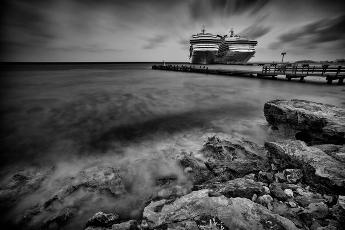 Cruise Ships - Grand Turk by jim_barbour - The Water In Black And White Photo Contest