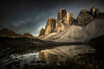 The Tre Cime by night