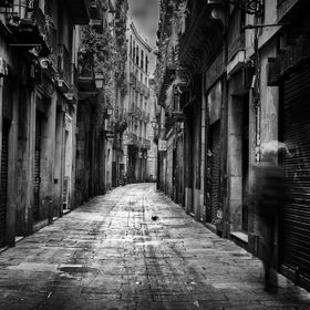 An early morning walk through the alleys of Barcelona, Spain