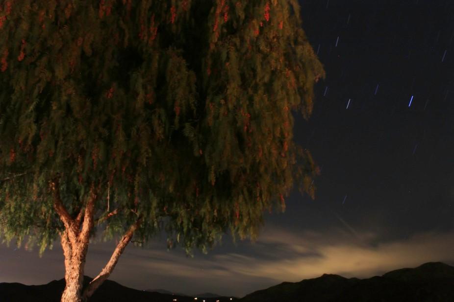 Night exposure of Lake Skinner in Temecula, California.