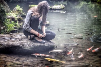 China Doll and The Koi fish... A Little Piece of Paradise in  Tokyo.