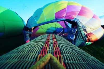 Balloon fill POV shot