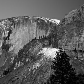 Late afternoon view of Half Dome from Mirror Lake in Yosemite National Park.