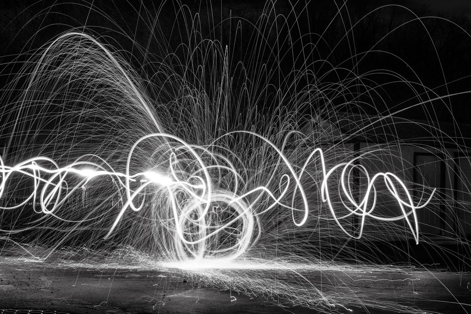Long exposure using burning steel wool and a flash light