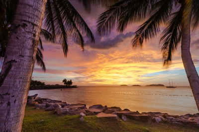 Dramatic purple sunset in Borneo