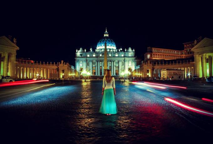 A Night At the Vatican by LisaShalom - Color In The Night Photo Contest