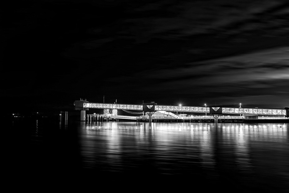 A brightly lit gangway at the ferry terminal in Edmonds, Washington, USA.