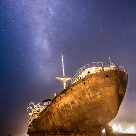 Telamon wreck by night. The ship was constructed in 1954 in London. In 1981, in route from the Ivory Coast to Greece with a load of logs, she spr...