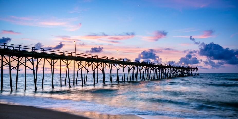 Sunrise at the pier in Kure Beach, NC