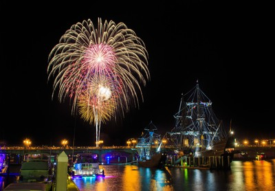 Fireworks on 4th of July at Bridge of Lions, Saint Augustine, Florida