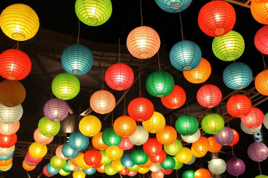 COLORFUL PAPER LAMPS IN THE EVENT OF CULINERY FESTIVAL SERPONG AT MALL SUMMARECON, TANGERANG, BAN...
