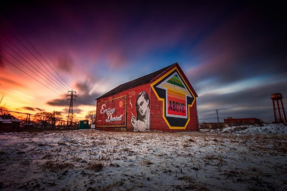 An art installation by Windsor painter, graffiti/street artist Dan Bomardier aka Denial.  A spoof...