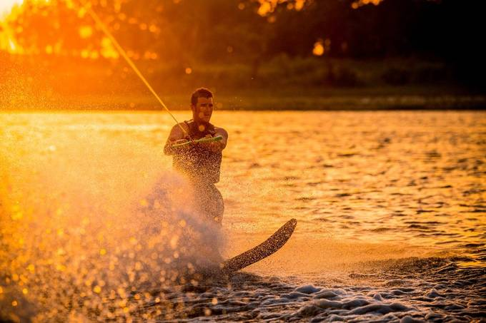 Skiing at Sunset by ericstephen - People and Water Photo Contest