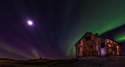 Aurora Borealis in the Moonlight