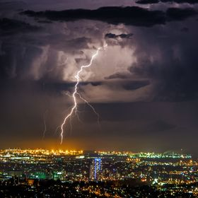 A lightning strike on the outer edge of Brisbane city, Qld Australia 16th Sep 2014