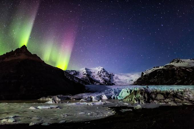 Iceland Aurora Over Glacier by sdondero - Landscapes Of Iceland Photo Contest