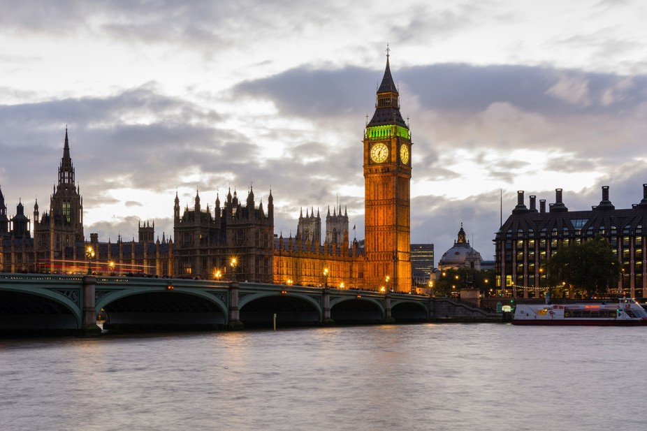 The Big Ben and the Houses of Parliament just before dusk.