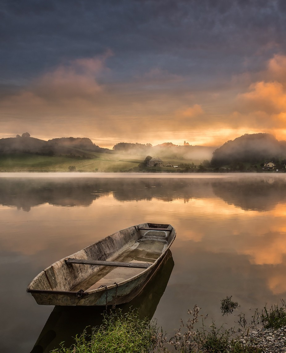 Lonely boat by saintek - Layered Compositions Photo Contest