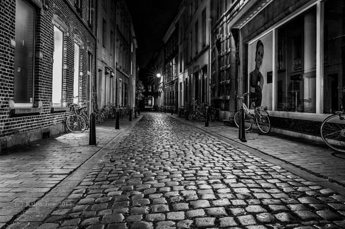 Leuven, Belgium. Just after Sunset by kalpachev - Textures In Black And White Photo Contest