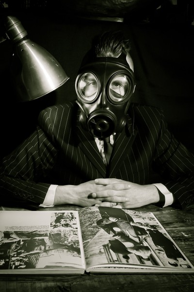 man and gas mask