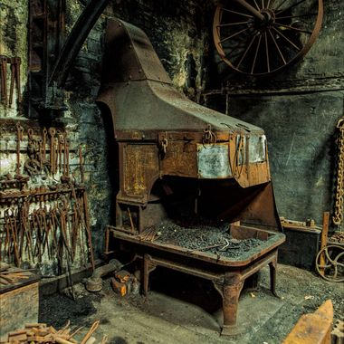 A long disused forge and associated ironwork at Llanberis Slate Museum