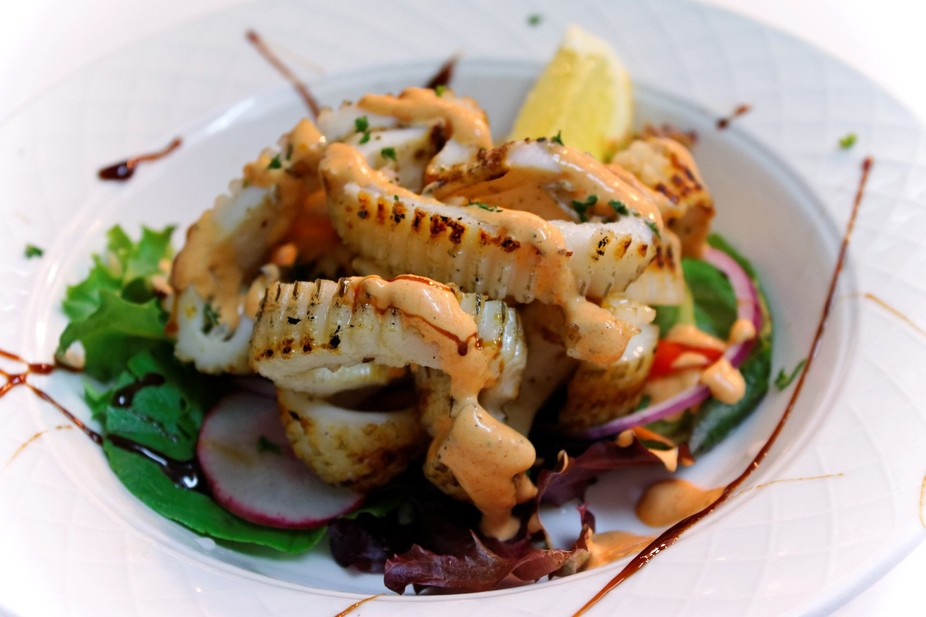 Grilled Calamari with a summer salad, taken at my work were we cook art on a plate. if it does no...