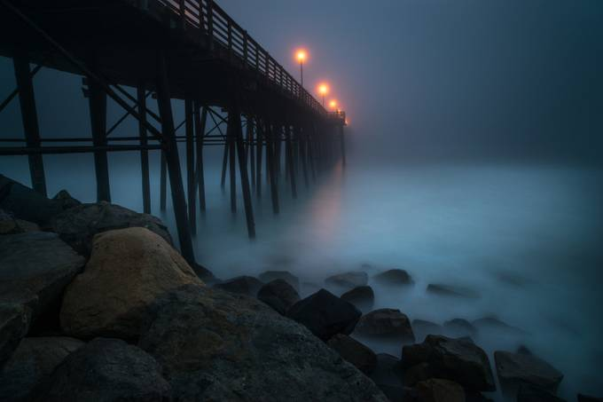 Foggy Night at the Oceanside Pier by larrymarshall - Lost In The Fog Photo Contest