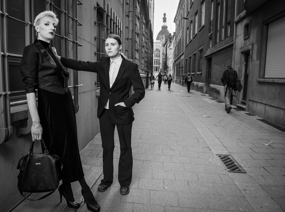 An image from my Helmut Newton inspired androgyny shoot. Models: Xanthy and Maria Kleopatra