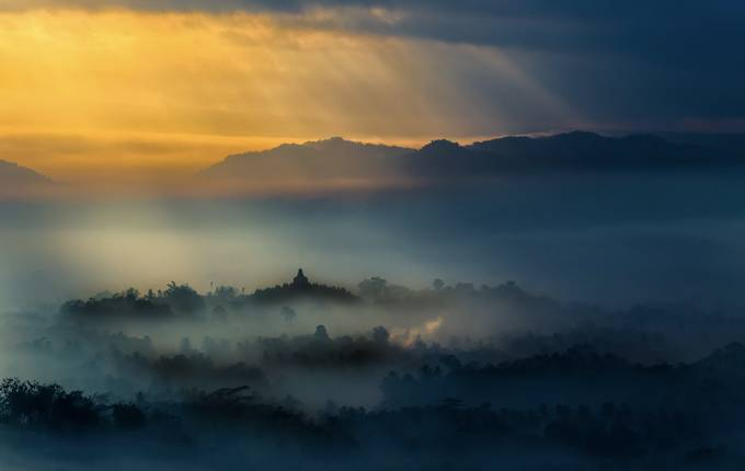 Borobudur bathed in gold by dhien2 - Lost In The Fog Photo Contest