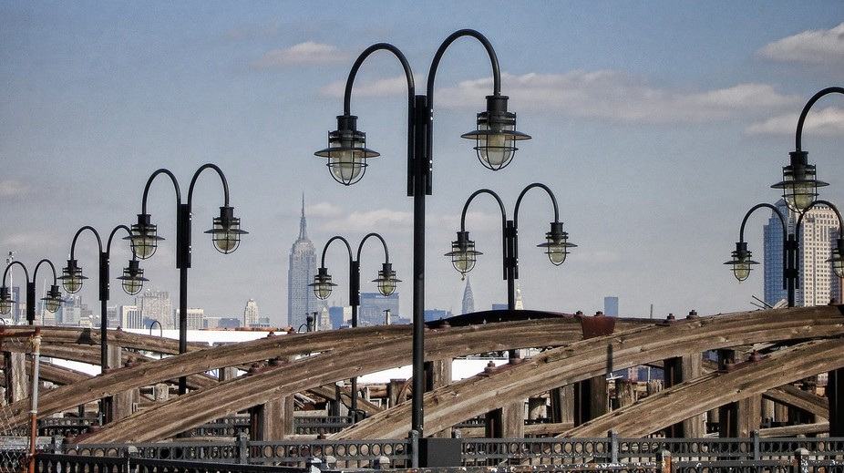Lights and piers and a view of NYC