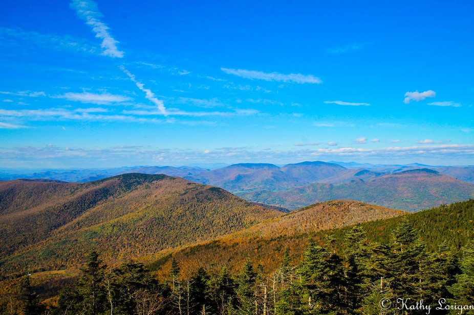 A view from the peak of Mount Equinox, Vermont. 180 degrees of pure beauty. The Green Mountains o...