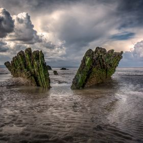 Shipwreck at Berrow in Somerset, England. The ship ran aground on 3 March 1897