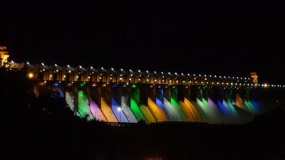 Tungabhadra Dam with all 23 spillway gates opened