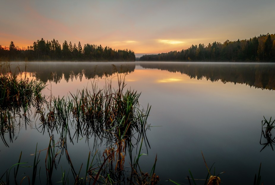 Daybreak over River Nissan in Sweden