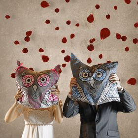 Bride and Bridegroom with Owl Pillows in Front of Faces and Falling Rose Petals
