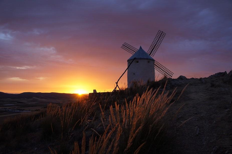 Sunset in  Consuegra, La Mancha, Spain