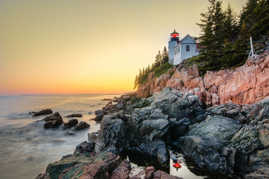 Lighthouse at Bass Harbor, Acadia National Park, Maine. I was happy to get the reflection of the ...