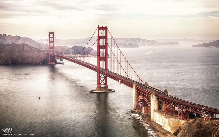 Bird eye view of the Golden Gate Bridge