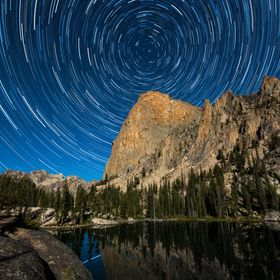 Star trails encircle the world famous Elephant's Perch in Idaho's Sawtooth Mountains. Taken from Shangri-La (aka Saddleback Lake) at 8,350 feet a...